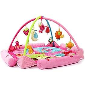 サンフラワー(SUNFLOWER) ベビージム・プレイマット 赤ちゃんのおもちゃ インテリア・デコレーション ベビー&マタニティ 大きいサイズ 男女兼用 デラックスジム 可愛いプリンセス ピンク 9個おもちゃが付き
