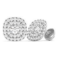 永久ダイヤモンドスタッド14Kゴールドダイヤモンドダブルハローイヤリングスクリューバック1.00CTW IGI USA Cert GH / i1)