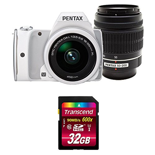 【Amazon.co.jp限定】デジタル一眼レフ PENTAX K-S1 200ダブルズーム限定キット [DAL18-55mm・DAL50-200mm] ホワイト + Transcend SDHCカード 32GB Class10 UHS-I対応 (最大転送速度90MB/s)セット