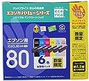 エコリカ エプソン(EPSON)対応 リサイクル インクカートリッジ IC6CL80リサイクルインクカートリッジ6色BOX(バリューシリーズ) ECI-E80V-6P