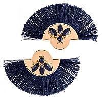 イヤリング ファンイヤリング女性タッセルイヤリングファッションタッセルイヤリング(ダークブルー)