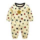 エルフ ベビー(Fairy Baby)新生児服 カバーオールロンパース 前開き 長袖 四季兼用 可愛い 星柄 イエロー 70cm