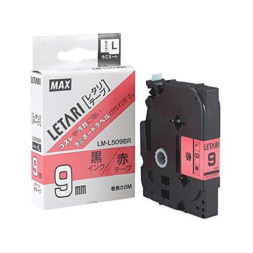 ビーポップミニ テープカセット テープ幅9mm 赤地に黒文字 LM-L509BR