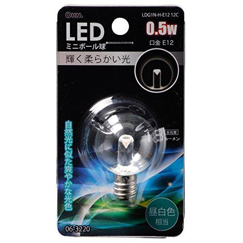 LED電球 ボール電球形 E12 昼白色 0.5W 18lm 43mm_LDG1N-H-E12 12C 06-3220