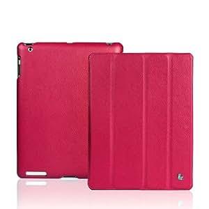 Jisoncase 【日本正規代理店品】  【iPad 2/第3世代iPad/第4世代iPad用バックケース&スマートカバー】 マグネチックスマートレザーケース 革 ローズレッド JS-IPD-07I34