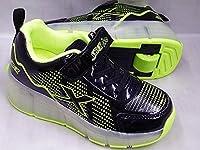 Shock SW023 ローラーシューズ キッズ 光る靴 スニーカー (20.0cm, ブラック/グリーン) かかとのボタンを押せばローラーを出し入れできます。  LEDで光る!