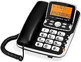 電話ラウドビッグボタンTelephone-電話ホームオフィスの固定回線ハンズフリー通話大画面フリップLCDバックライトデュアルインターフェイス増幅コード付き電話 Yang MI (Color : Black)