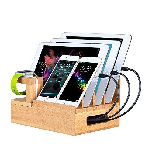 OthoKing 充電収納ホルダー 多機能充電スタンド 充電収納ケース 竹製ホルダー iPhone/iPad/Galaxy/Android各種のスマートフォンとタブレットに適用する
