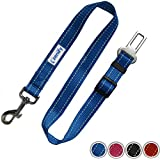 Zenify Dog Car Seat Belt Seatbelt Lead Puppy Harness - Heavy Duty Adjustable Carseat Clip Buckle Leash for Dogs Puppies Pets Travel - Pet Safe Collar Accessories Supplies Truck Safety Covers (Blue)