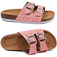 Aiminila Girl's Glitter Thong Slip On Casual Open Toe Buckle 2 Strap Slide Sandals (Little Kid/Big Kid)
