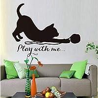 Jason Ming 私と遊ぶ子猫の壁飾りシール猫ビニールステッカー取り外し可能なアートウォールステッカー子供のための寝室の家の装飾44×34センチ