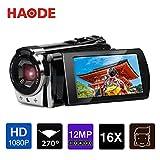 「令和モデル」ビデオカメラ デジタルビデオカメラ HAODE フルHD 1080P 3.0インチLCD 16倍デジタルズーム 高画質 カムコーダー 270度回転スクリーン ポータブル 専用ポーチ付き日本語取扱説明書