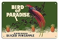 """22cm x 30cmヴィンテージハワイアンティンサイン - ハワイアンパイナップルスライス - ブランド""""Bird of Paradise"""" - ビンテージ缶詰フルーツラベル c.1920s"""