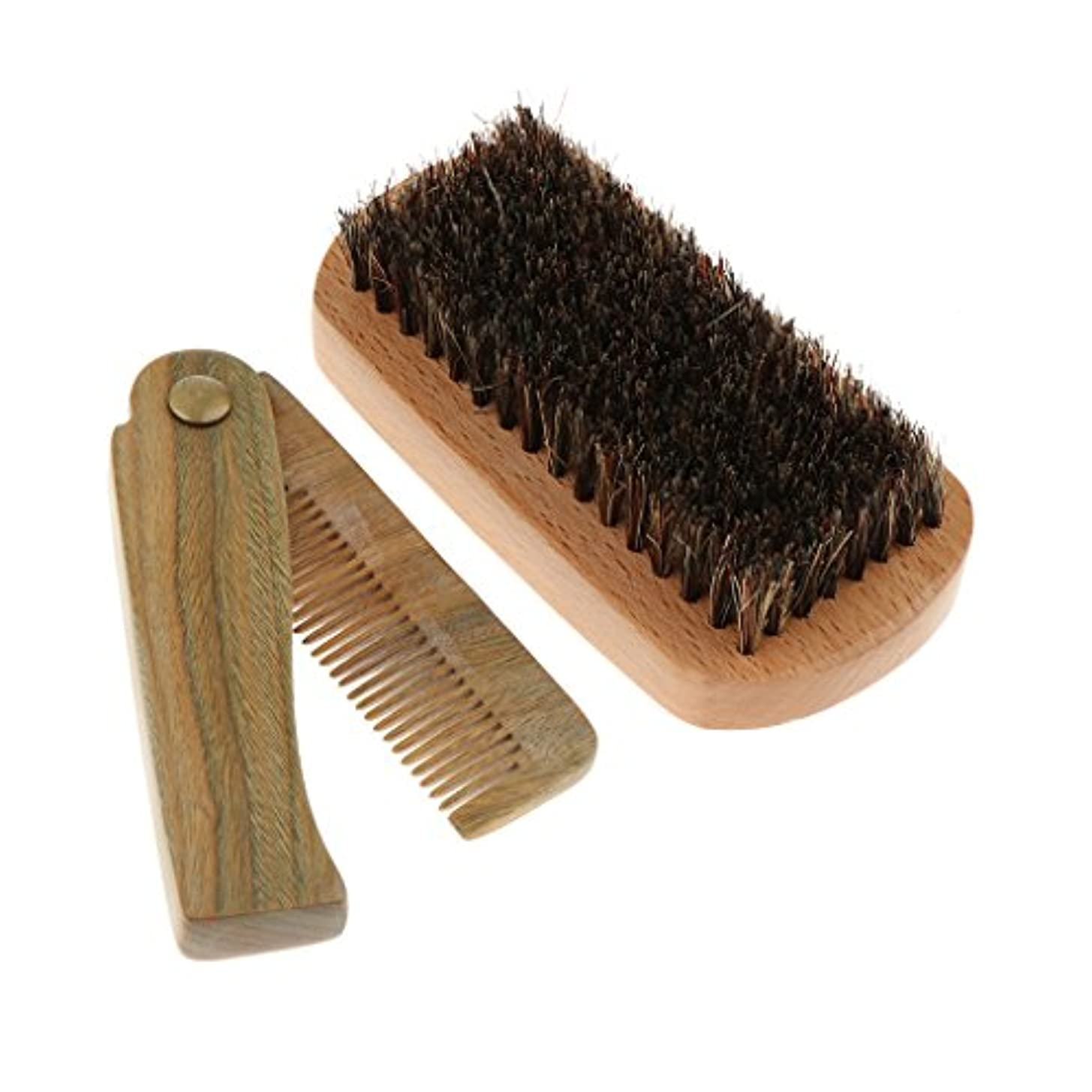地下公式熟達Perfk シェービング 櫛 ビアード コーム ブラシ 木製 折り畳み ひげ ブリストル ヘアブラシセット メンズ