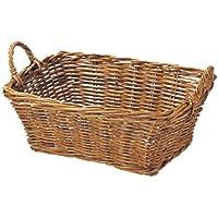 バスケット 紅籐 籐 ラタン かご 小物入れ 持ち手 約47×35×19(28) cm 31-24