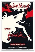 ムーランルージュ舞踏会 - パリ、フランス - 熱狂的なワトゥシダンス - 40人のドレスを着用した女性 - ムーラン・ルージュ・キャバレー - ビンテージな劇場のポスター によって作成された ルネ・グリュオ c.1970 - アートポスター - 33cm x 48cm