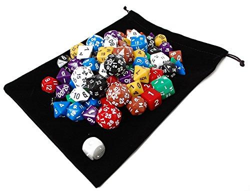NABY TRPG ボードゲーム カードゲーム 用 多面体 サイコロ ダイス セット 81個 8色(黒/白/赤/青/黄/緑/紫/茶)×10種+ メタルダイス 1個 収納袋付き