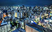 風景建築アートキャンバスプリントポスター、家の壁の装飾ポスター(日本の夜の街、住宅、ビル)50x33cm