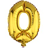 (ラボーグ) La vogue アルミバルーン 風船 16インチ 40cm 0-9数字自由選択 イベント 二次会 パーティー 結婚式用品 装飾 飾り ゴールド 1枚入れ 金色数字 (0)