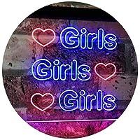 Girls Heart Bedroom Display Gift Dual Color LED看板 ネオンプレート サイン 標識 赤色 + 青色 400 x 300mm st6s43-i2223-rb
