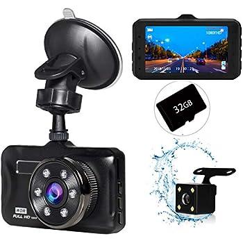 ドライブレコーダー 前後カメラ 32GB SDカード付き 2019最新版 1080PフルHD 1800万画素 永久保証 3インチ 夜間撮影 170°広視野角 SONYセンサー/レンズ 常時録画 G-sensor WDR