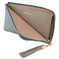 RICKERS 長財布 薄い財布 レディース L字ファスナー 薄型 本革 ニュアンスカラー 5色 (サックスブルー)