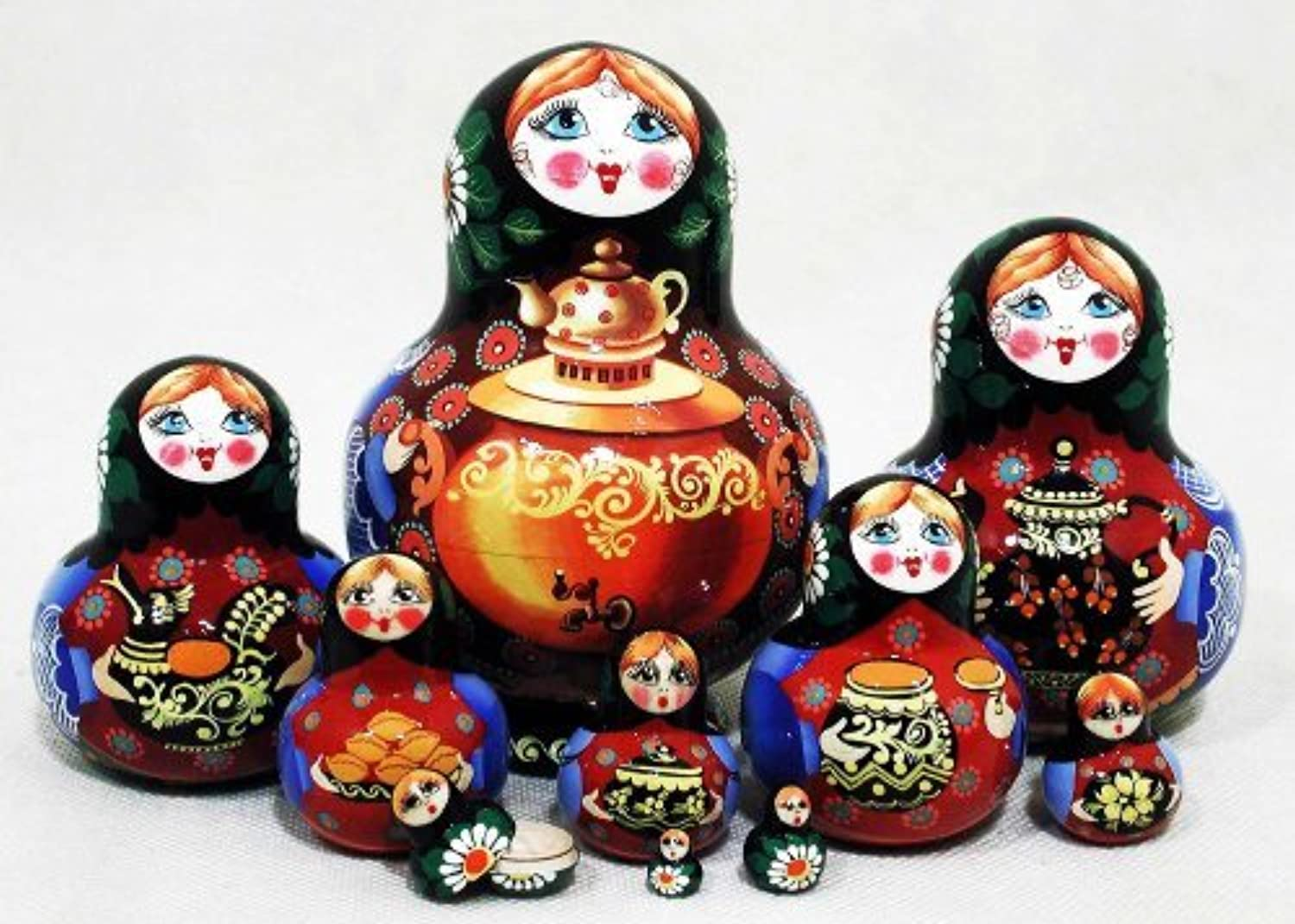 Samovar Russian Nesting Doll 10pc./5 by Golden Cockerel [並行輸入品]