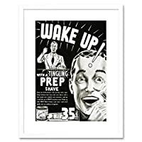 Advert Shave Prep Bathroom Black White Razor Wake Up Framed Wall Art Print 広告壁
