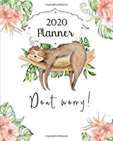 2020 Planner: Sloth Daily, Weekly & Monthly Calendars | January through December | #3