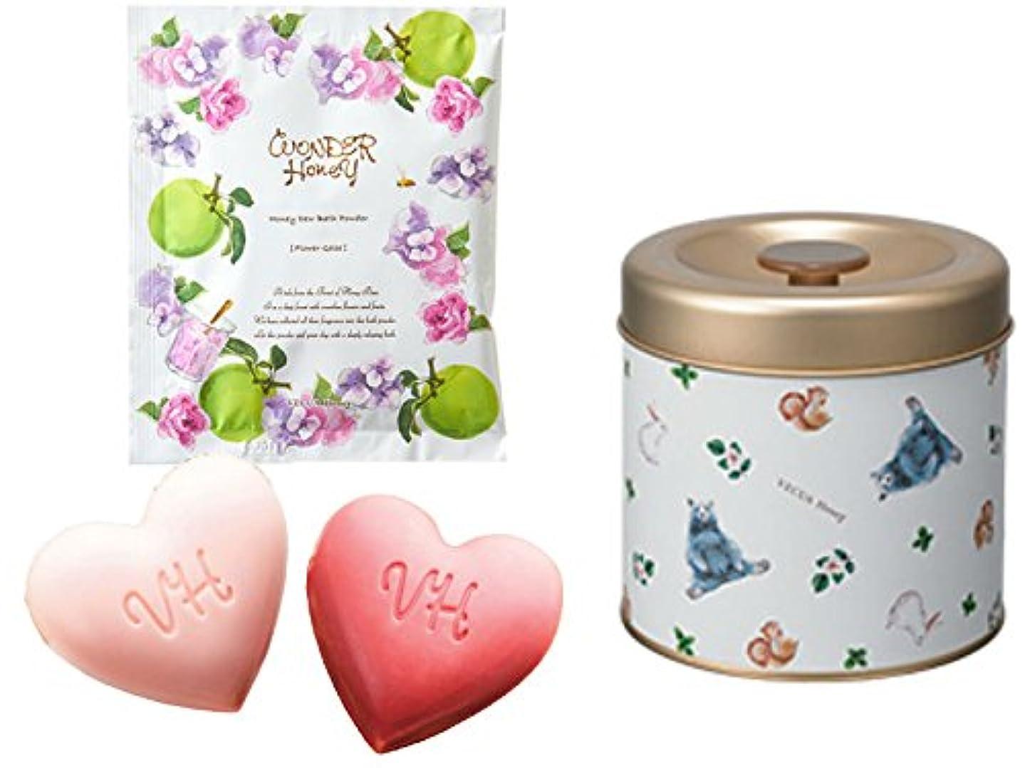 【ワンダーハニー】ハートフルなクリームソープ&蜜蜂の森のアロマバス ギフト セット (お花のジュレの香り)