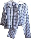 (コモグッド) CoMo Good パジャマ メンズ 長袖 綿100 前開き 上下 セット ブルー L PJ055