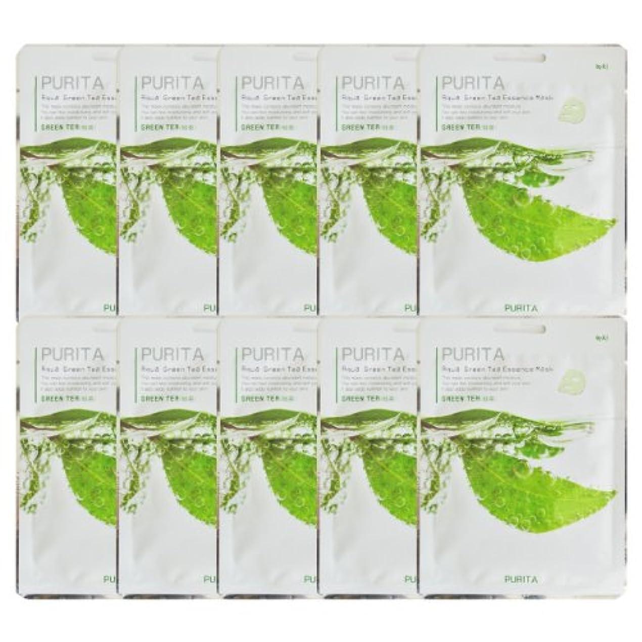 稼ぐ異常な朝ごはんPURITA ピュリタ エッセンスマスク 緑茶 10枚セット