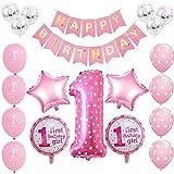 ピンク 一歳 飾り付け 誕生日 可愛い 女の子 happy birthday バナー ガーランド 紙吹雪入れ バルーン 風船 スター リボン 21枚セット (ピンク)