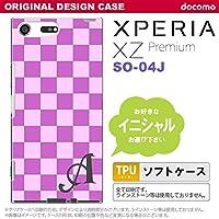 SO04J スマホケース Xperia XZ Premium ケース エクスペリア XZ プレミアム イニシャル スクエア 紫×ピンク nk-so04j-tp768ini D