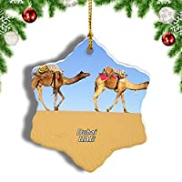 Weekinoアラブ首長国連邦砂漠のラクダドバイクリスマスオーナメントクリスマスツリーペンダントデコレーション旅行お土産コレクション陶器両面デザイン3インチ