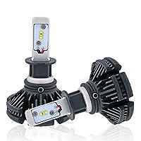e-auto fun H3車検対応 12V専用LED ヘッドライト/フォグランプコンパクト型 Lumileds LUXEON ZESチップス採用 50WX2 6000LmX2 6500K 2個セット LMX3C003