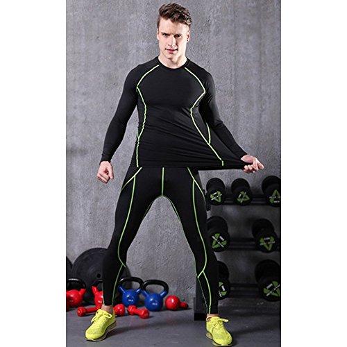 LeoSport ジャージ 上下セット健康 機能性 脂肪燃焼 骨盤矯正 長袖 吸汗速乾 加圧Tシャツ (L, ブラック+ ダリ一ン)