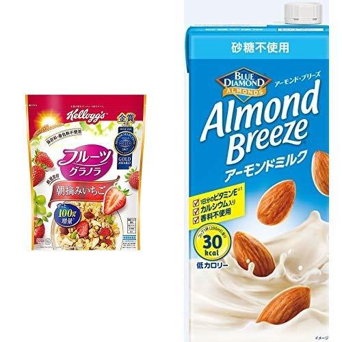 【セット買い】ケロッグ フルーツグラノラ 朝摘みいちご 600g×6袋 + アーモンド・ブリーズ 砂糖不使用 1L×6本