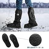 [SMISEAS] 防水シューズカバー 靴カバー 雪 雨 水 泥避け 梅雨対策 レインブーツカバー 携帯可 通勤 通学 自転車用 滑り止め靴カバー 靴の保護 履きやすい ロング 軽量 男女兼用 画像