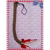 萌えグッズ かわいい リボン & 鈴付き 猫しっぽ 80センチ 茶色×白 コスプレ