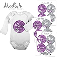 12 monthly baby stickers purple gray flowers girl baby belly