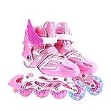 インラインスケート ローラースケート 発光 メッシュ 通気性抜群 大人 キッズ 子供用 初心者向け ローラーシューズ(pink/S)