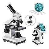 MAXLAPTER HD単眼生物顕微鏡1000倍 LEDライト内蔵 移動式ルーラー、自由研究、学習用、スマホ撮影セット、教育、生物学的研究に使いや..
