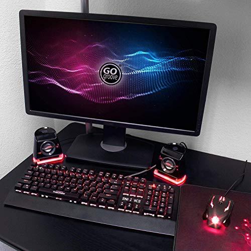 『GOgroove BassPULSE 2MX 2.0 USB マルチメディアスピーカーシステム 赤色LED、デュアルドライバー、パッシブサブウーファー搭載 - PC, Apple MAC, Dell などのコンピューターに対応』の4枚目の画像