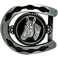 IPOTCH Horse Head Belt Buckle Mens Country Western Cowboy Costume Silver