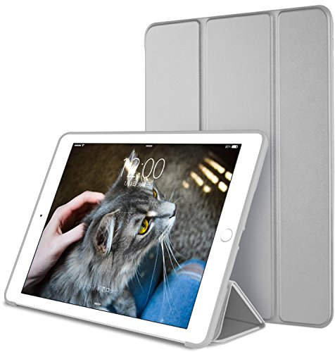DTTO iPad Mini4 ケース 生涯保証 TPU ソフト 超薄型 超軽量 PUレザー スマートカバー 三つ折り スタンド スマートキーボード対応 キズ防止 指紋防止 [オート スリープ/スリープ解除] スペースグレー