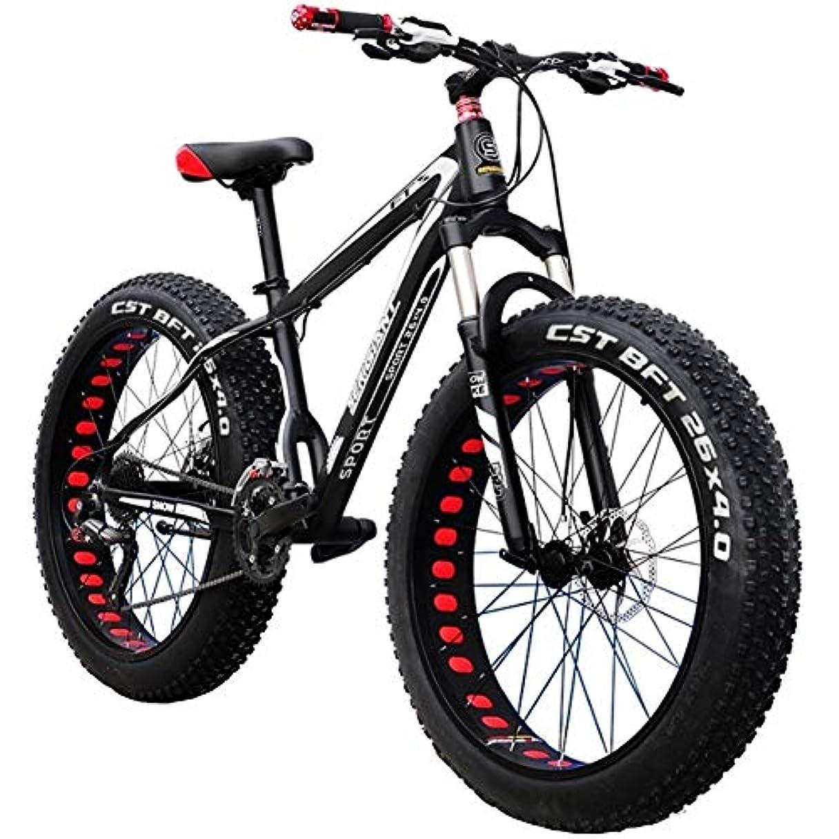 したがって膨張する平和的Outroadマウンテンバイク30スピード滑り止め自転車24インチファットタイヤ砂のバイクエクササイズバイクダブルオイルブレーキロック可能なフォーク、青または黒のためにフィットネス、通勤、クロスカントリー (Color : Black, Size : 26 inch)