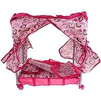 Perfk 可愛い ドールのため 赤ちゃん人形 新生児ドール ベビーベッド ピンク 人形用家具