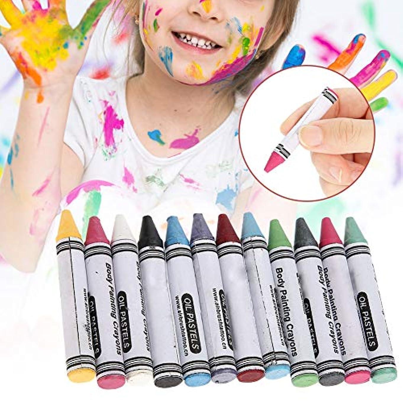 ワイドジャーナル海峡12色 人体の彩絵クレヨン、パーティー祝日 子供用 環境保護 プレゼント