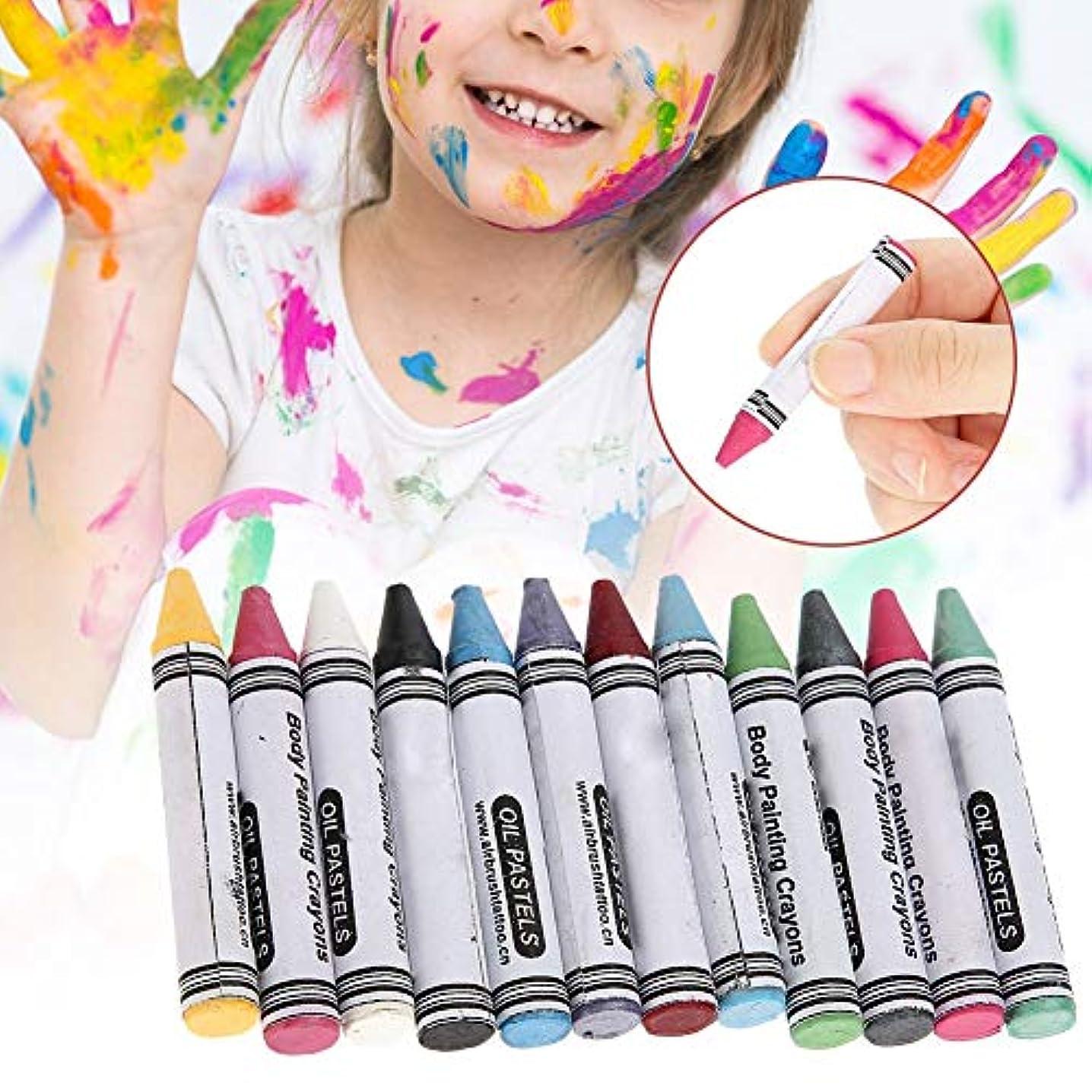 実現可能異邦人年齢12色 人体の彩絵クレヨン、パーティー祝日 子供用 環境保護 プレゼント